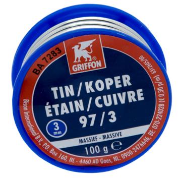 Griffon draadsoldeer tin/koper 3mm 100 gram