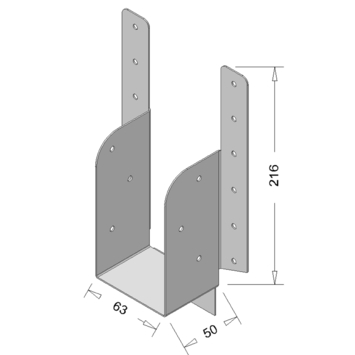 Raveeldrager met Strip Verzinkt 225x63 mm