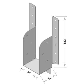 Raveeldrager met Strip Verzinkt 190x59 mm