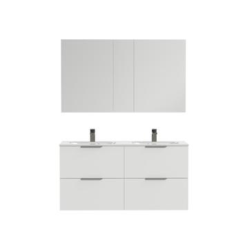 Tiger badkamermeubel Studio 120cm hoogglans wit/matwit met platte RVS greep