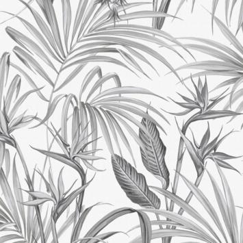 Vliesbehang Strelitzia grijs 111740