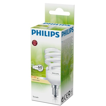 Philips spaarlamp Tornado E14 12W warm wit