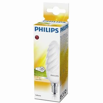 Philips spaarlamp Kaars gedraaid E14 8W warm wit