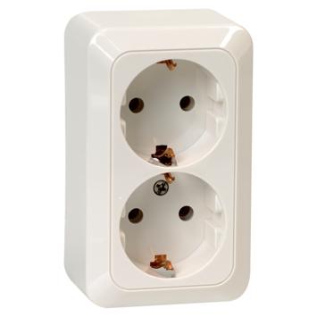 OK dubbel geaard stopcontact opbouw wit