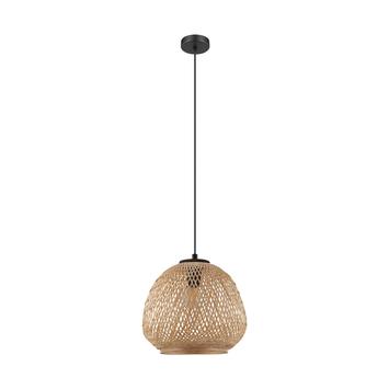 EGLO hanglamp Townshend 6-lichts zwart/eiken