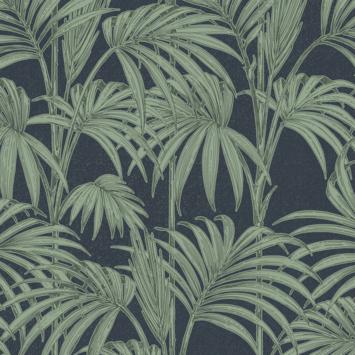 Vliesbehang Honolulu palm glitter blauw 112086