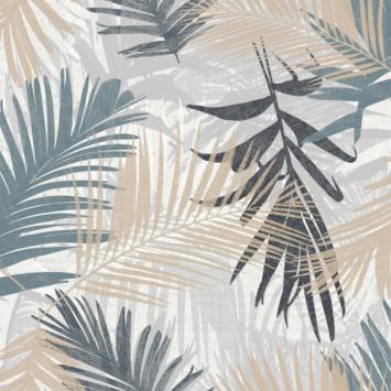 Vliesbehang Jungle glam blauw/grijs 111754