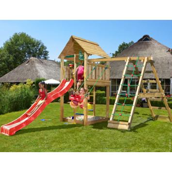 Speeltoestel Jungle Gym Cabin met lange rode glijbaan, klimrek en schommel