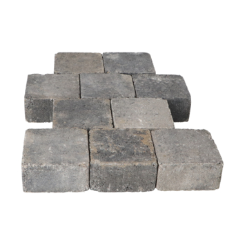 Trommelsteen Grijs/Zwart 14x14x7cm