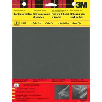3M schuurpapier zeer fijn K400 zwart 4 stuks