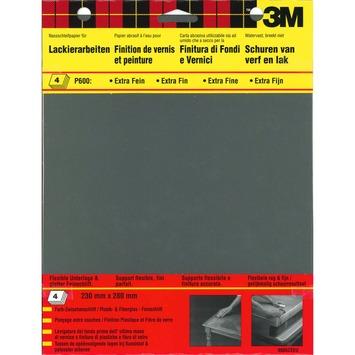 3M schuurpapier extra fijn K600 zwart 4 stuks