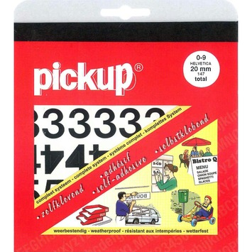 Pickup plakcijfers 0-9 Helvetica zwart 20 mm