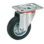Zwenkwiel Rubber met plaatbevestiging Ø 200 mm max. 210 kg