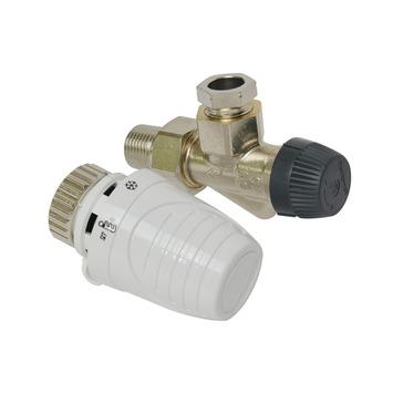 """Honeywell thermostatische radiatorkraan verkeerd haaks wit  1/2""""x15 mm"""