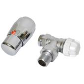 """GAMMA thermostatische radiatorkraan verkeerd haaks chroom 1/2""""x15 mm"""