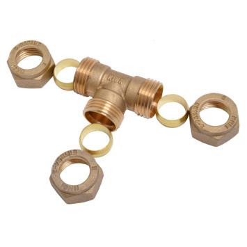 Sanivesk knelkoppeling messing T-stuk 15x15x15 mm 5 stuks