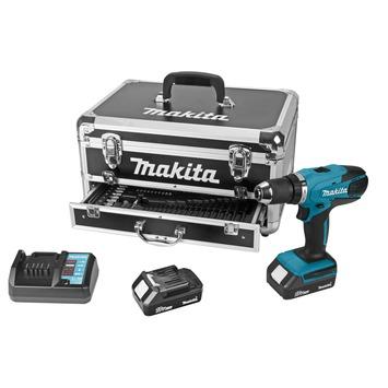 Makita accuboormachine DF457DWEX2 18V + 70-delige accessoireset