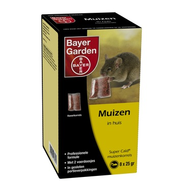 Bayer Supercaid muizenkorrels 200 gram (8x25 gram) met 2 lokdoosjes