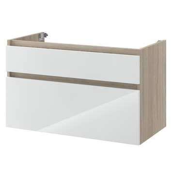 Bruynzeel Monta onderkast eiken grijs/hoogglans wit 90 cm