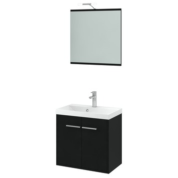 Gamma arte badmeubelset met spiegelkast zwart 60 cm for Spiegelkast badkamer 60 cm