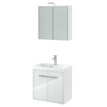 Gamma arte badmeubelset met spiegelkast hoogglans wit 60 for Spiegelkast badkamer 60 cm