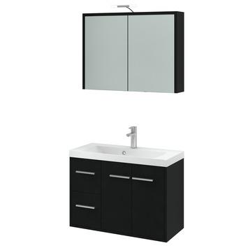 GAMMA | Arte badmeubelset met spiegelkast zwart 80 cm kopen ...