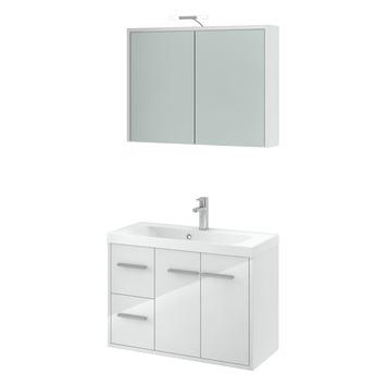 Gamma arte badmeubelset met spiegelkast hoogglans wit 80 for Spiegelkast 80 cm