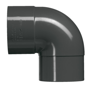 Martens bocht 90° PVC antraciet verjongd 80x80 mm
