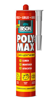 Bison Poly Max express universele montage- en afdichtingskit grijs 425 gram