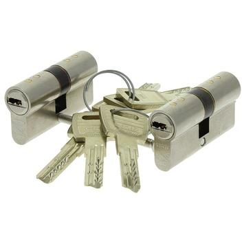 Nemef Veiligheidscilinder NF4 met keersleutel 30/30 mm SKG 3-sterren gelijksluitend 2 stuks