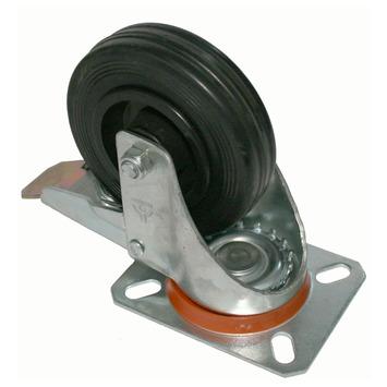 Zwenkwiel Rubber met rem en plaatbevestiging Ø 100 mm max. 60 kg