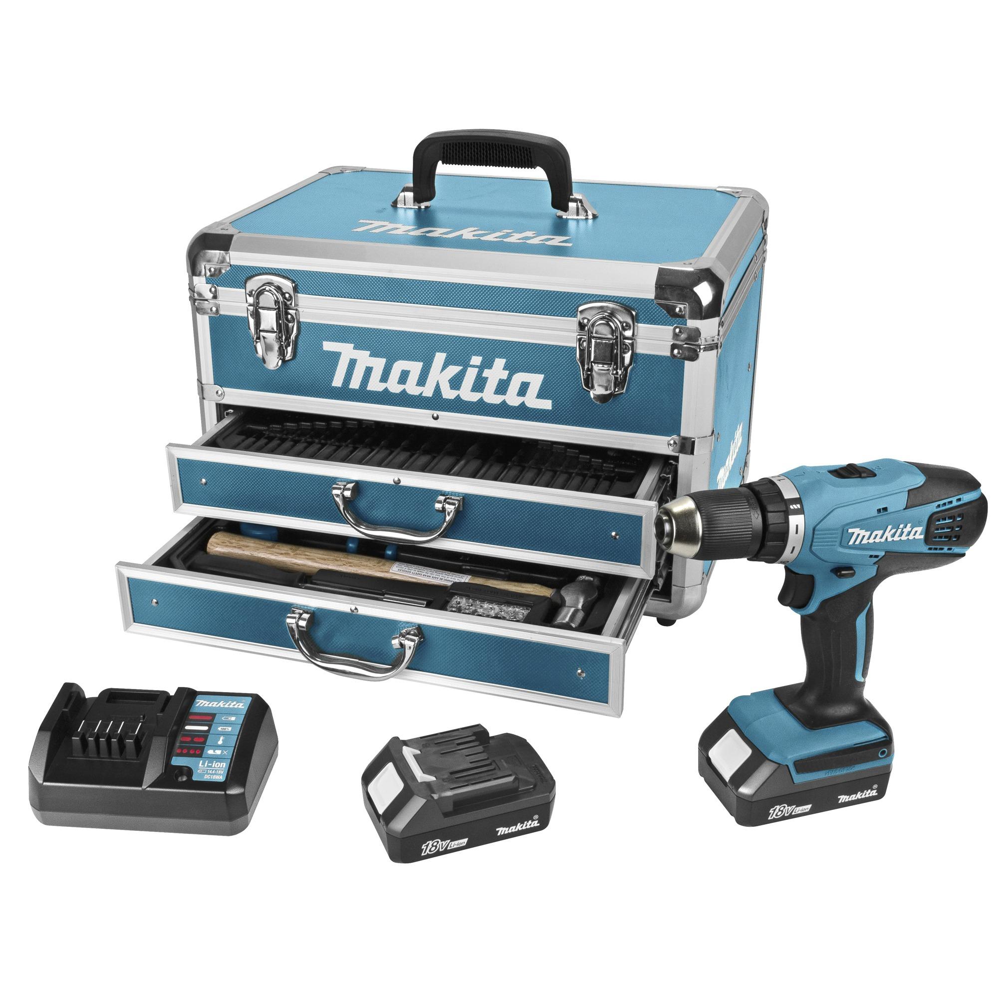Makita accuboormachine DF457DWEX6 18V + 102-delige accessoireset