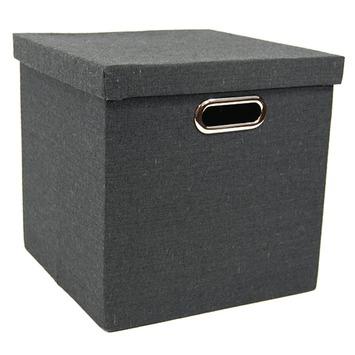 Stora opbergdoos textiel zwart 30x30x30 cm