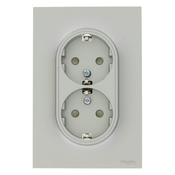 Schneider Electric Odace dubbel geaard stopcontact aluminium