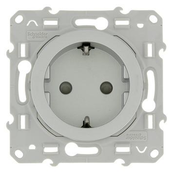 Schneider Electric Odace enkel geaard stopcontact aluminium