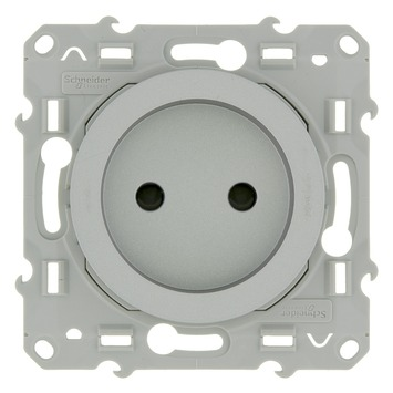 Schneider Electric Odace enkel stopcontact aluminium