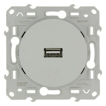 Schneider Electric Odace contactdoos USB lader aluminium