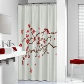 Sealskin douchegordijn Blossom rood 180x200 cm