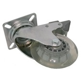 Zwenkwiel met rem chroom transparant maximaal 40 kg 75 mm