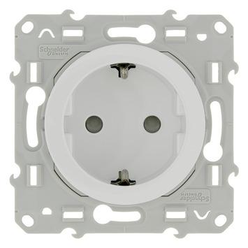 Schneider Electric Odace enkel geaard stopcontact wit