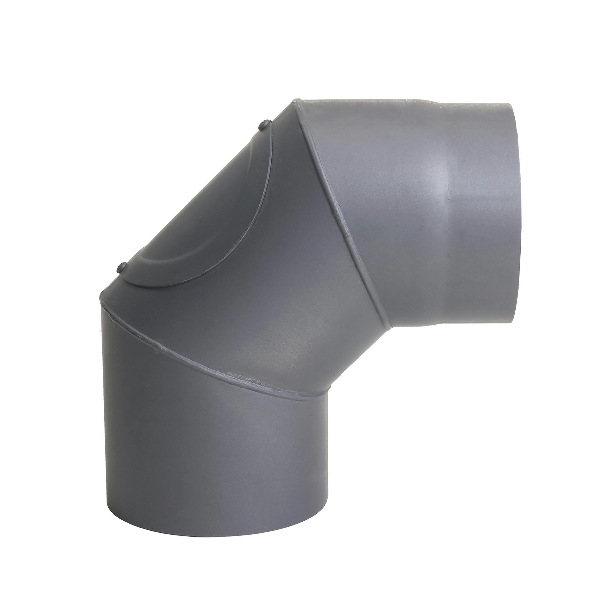 Livinflame kachelpijp bocht 90° enkelwandig met opening en afdekkapje Ø 150 mm