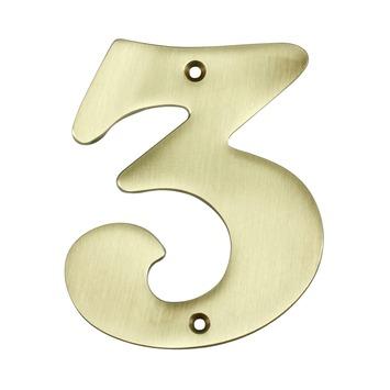 Gamma Gamma Huiscijfer 3 Messing Brons Kopen Huisnummers