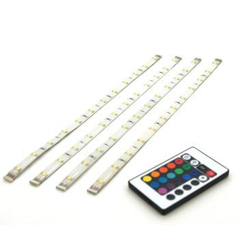 LED strip multicolour met afstandsbediening 30 cm 4 stuks