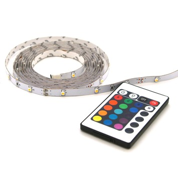 led strip multicolour met afstandsbediening 2 meter ip20