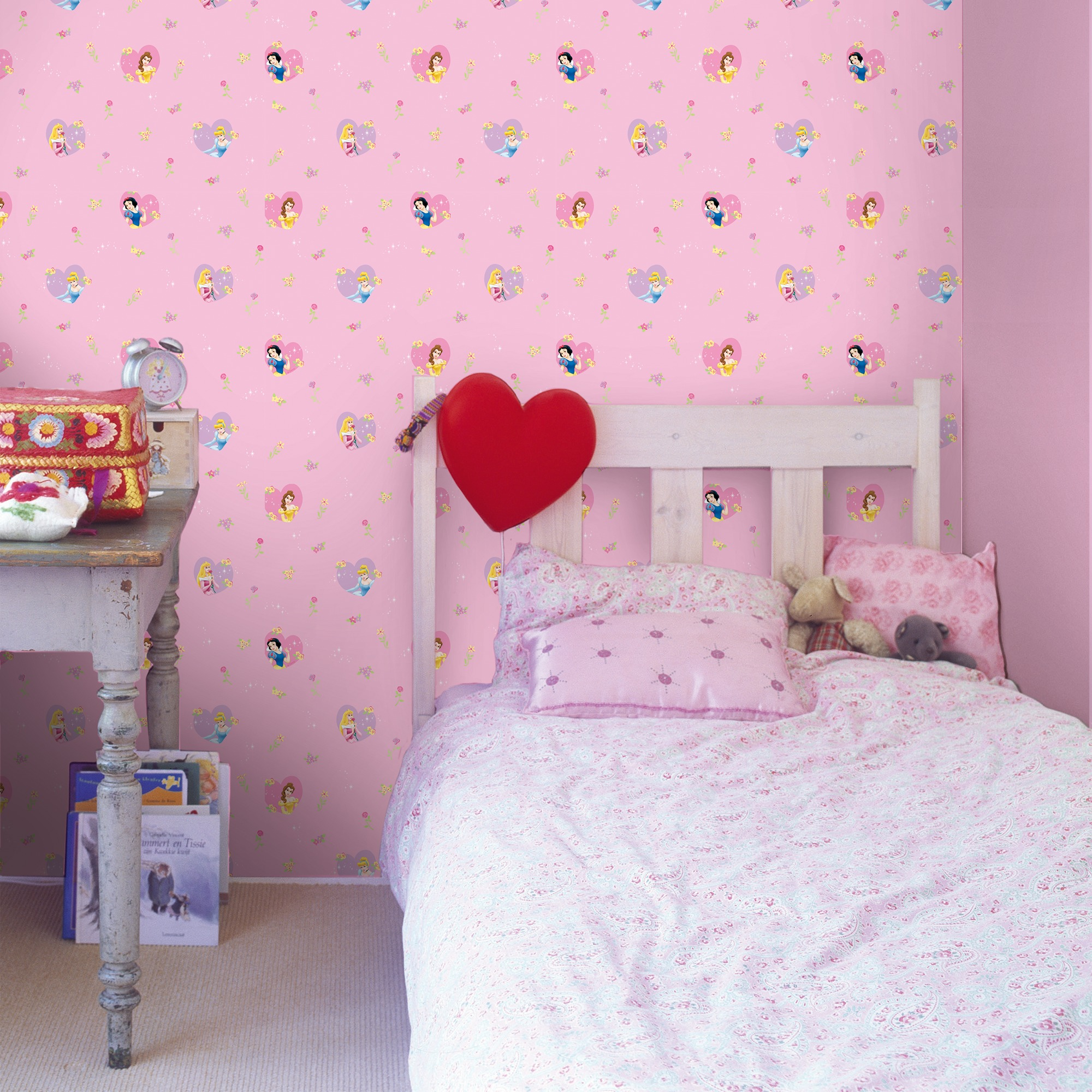 Disney duplex behang princess of hearts 1299 roze 10 meter for Renovlies behang gamma