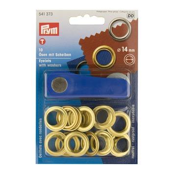 Ringen messing 14 mm 10 stuks