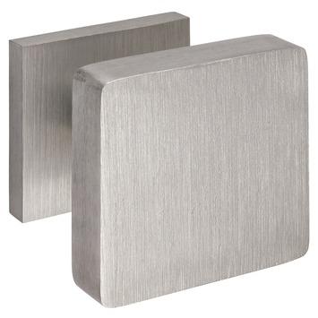 GAMMA voordeurknop vierkant aluminium RVS look