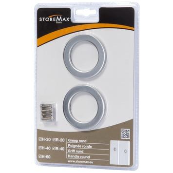 StoreMax handgreep rond metaal zilver 2 stuks