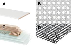Radiatorbekleding, glas, webbing, MDF en aluminium