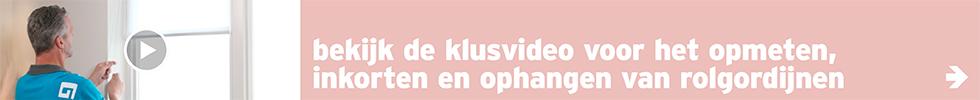 Raamdecoratie - banner bekijk de klusvideo rolgordijn